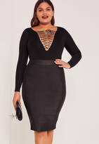 Missguided Black Plus Size Bandage Split Midi Skirt