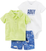 Carter's 3-Pc. Cotton Polo Shirt, Bodysuit and Shorts Set, Baby Boys (0-24 Months)