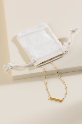 francesca's Brynn Delicate Bar Necklace & Pouch - Gold