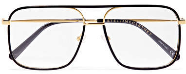 Stella McCartney D-frame Acetate And Gold-tone Optical Glasses - Black