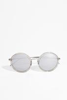 Linda Farrow Luxe Truffle White Gold Round Sunglasses