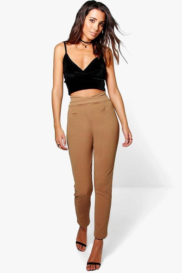 Basic High Waist Crepe Skinny Stretch Pants
