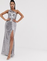 Bariano one shoulder sequin gown with thigh split in silver