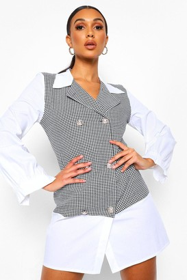 boohoo Dogtooth Boucle Button Front Shirt Dress