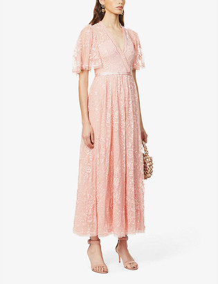 Trudy Belle floral-embroidered mesh maxi dress