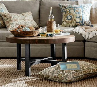 """Pottery Barn Griffin 36"""" Round Reclaimed Wood Coffee Table"""