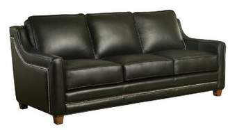 Sangria Omnia Leather Fifth Ave Leather Sofa Omnia Leather Body Fabric: Guanaco Sangria, Leg Color: Shadow, Nailhead Detail: Small Chrome Touching