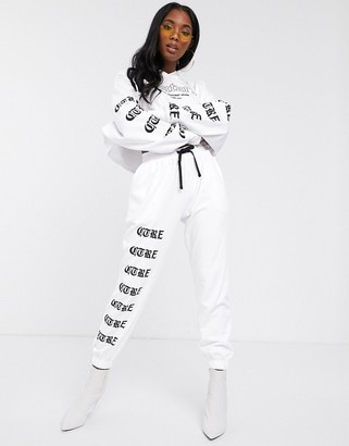 Couture The Club cropped motif hooded sweater in white