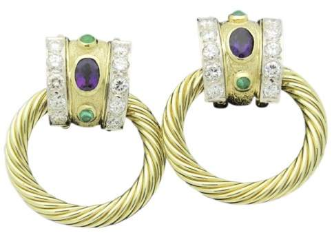 David Yurman 14K Yellow Gold 5.00tcw. Diamond Cable Door Knocker Amethysts Emeralds Earrings