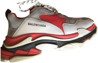 Balenciaga Triple S Red Leather Trainers