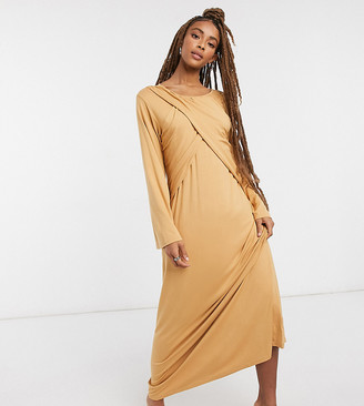 Verona maxi dress with long sleeves and cross pleat detail in camel
