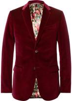 Gucci Burgundy Slim-Fit Stretch-Cotton Velvet Blazer