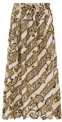 Edward Crutchley Laser-cut Metallic Floral-print Wool Midi Skirt - Womens - Brown Multi