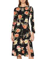 Dorothy Perkins Women's Large Floral Keyhole Jersey Midi Dress