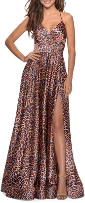 La Femme Satin Leopard A-Line Strappy-Back Gown
