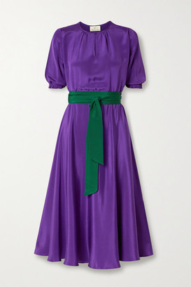 ARoss Girl x Soler Alison Leigh Belted Silk Crepe De Chine Midi Dress - Purple