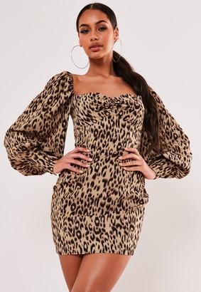 Missguided Brown Leopard Low Back Puff Sleeve Mini Dress