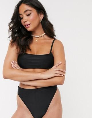 Brave Soul cami bikini top in black