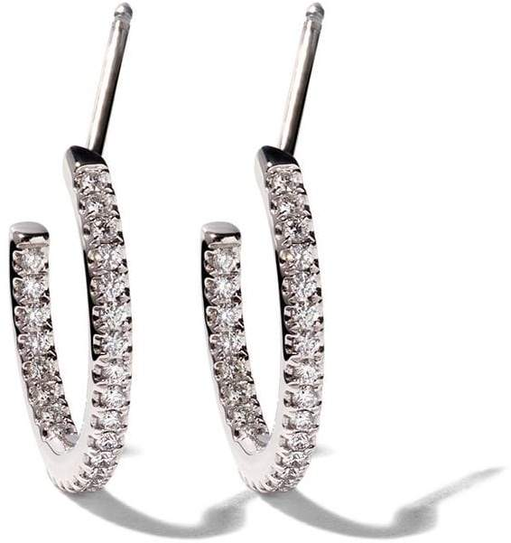 De Beers 18kt white gold Micropavé hoop diamond earrings