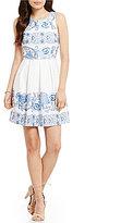 Jodi Kristopher Mixed Pattern Striped Pleated A-line Dress