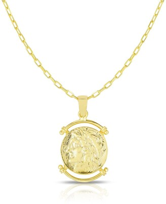 Sphera Milano 18K Yellow Gold Plated Sterling Silver Coin Pendant Necklace