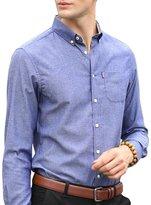 OCHENTA Men's Slim Fit Solid Button Down Oxford Dress Shirt Tag XL - US S
