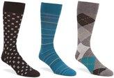 Roundtree & Yorke Gold Label Argyle Combo 3-Pack Socks