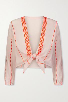 Lemlem Jemari Cropped Tie-front Striped Cotton-blend Gauze Top - White