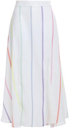 Olivia Rubin Astrid Sequined Striped Georgette Midi Skirt