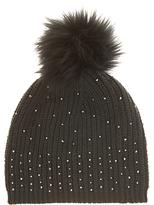 Mint Velvet Studded Pom Pom Hat, Khaki
