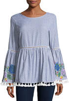 Glamorous Floral-Embroidered Striped Top