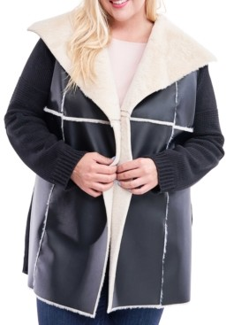 Fever Plus Size Faux-Shearling Sweater Jacket