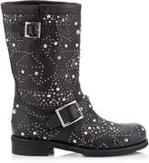 Jimmy Choo BIKER Black Leather Biker Boots with Graphic Star Studded Embellishment