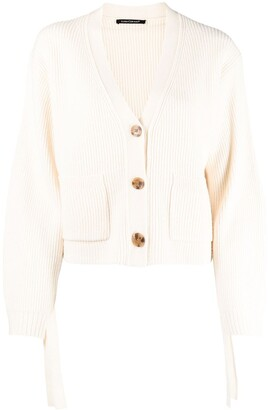 Luisa Cerano ribbed V-neck knit cardigan