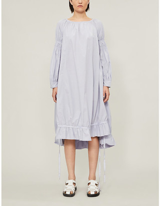 RENLI SU Loose-fit shirred-sleeves cotton midi dress