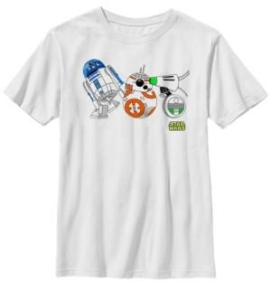 Star Wars Big Boys Cartoon R2-D2 Bb-8 D-o Droid Lineup Short Sleeve T-Shirt