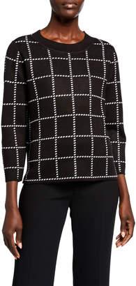 Calvin Klein 3/4-Sleeve Check Crewneck Sweater