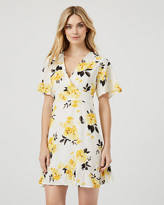 Le Château Floral Print Flutter Sleeve Wrap-Like Dress