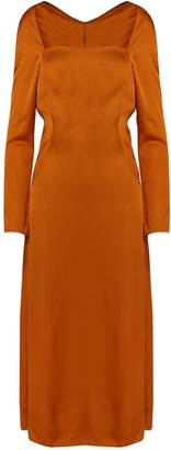 Dalb Celestial Orange Midi Dress With Back Pleats