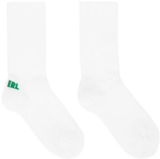 ERL White and Green Logo Socks