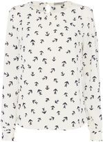 Marella ESTRO longsleeve anchor print blouse