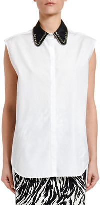 No.21 Collared Sleeveless Button-Down Blouse
