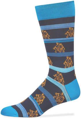 Bugatchi Men's Sumo Wrestlers Printed Crew Socks