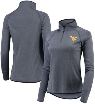 Colosseum Women's Heathered Navy West Virginia Mountaineers Bailey Core Quarter-Zip Pullover Jacket