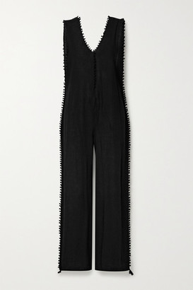CARAVANA Oxku Fringed Cotton-gauze Jumpsuit - Black