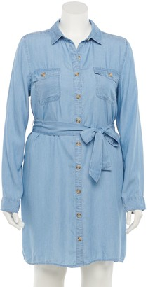 So Juniors' Plus Size Button Down Shirt Dress