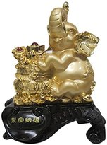 "StealStreet SS-MU-LD386 15"" Gold Color Elephant with Money Pot Figurine"