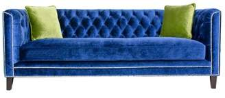 "Victoria Velvet 87"" Tuxedo Arm Sofa Bed Pasargad Upholstery Color: Navy"