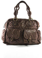 Isabella Fiore Brown Leather Whipstitch Trim Gold Tone Satchel Handbag