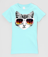 Micro Me Mint Sunglasses Kitty Fitted Tee - Infant Toddler & Girls